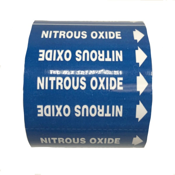 Gas Markers Nitrous Oxide Blue Background White Text
